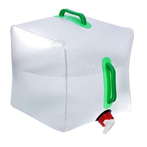 OrangeClub 20L Fasserkanister Faltbar, Wasserbeutel Tragbarer ohne BPA Faltbarer Camping-Wasserkanister PVC-Containertank Faltbarer Wassertankmit Haltegriff Zapfhahn für Picknick Travel BBQ