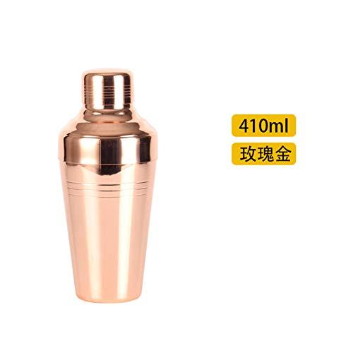 Be&xn Cocktail Shaker Bottle Built-in Strainer, Copper Coated Home Martini Shaker Japanese Style Bar Tool -Rose Gold 410ml(13.8 oz)