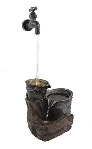 DARO DEKO Brunnen-Set mit Stromstecker und Pumpe Wasserhahn 20cm x 47cm