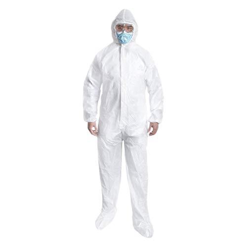 Artibetter 2 Stück Einweg-Schutzanzug Vlieslabor Laborkleider Undurchlässiger Overall Sicherheit Medizinischer Anzug - Größe L (Weiß)