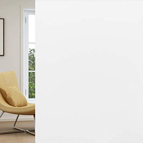 rabbitgoo Window Privacy Film, Frosted Removable Glass Covering for Bathroom, Opaque Static Cling Heat Control Door Sticker for Home Office Living Room, Non-Adhesive (Matte White, 23.6 x 78.7 inches)