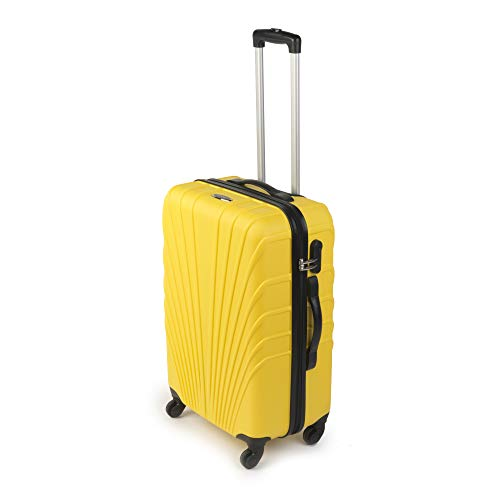 Constellation LG00418MYELASMIL 24' Yellow Arc ABS Suitcase | Durable | Top and Side Carry Handles | Integrated Side Lock