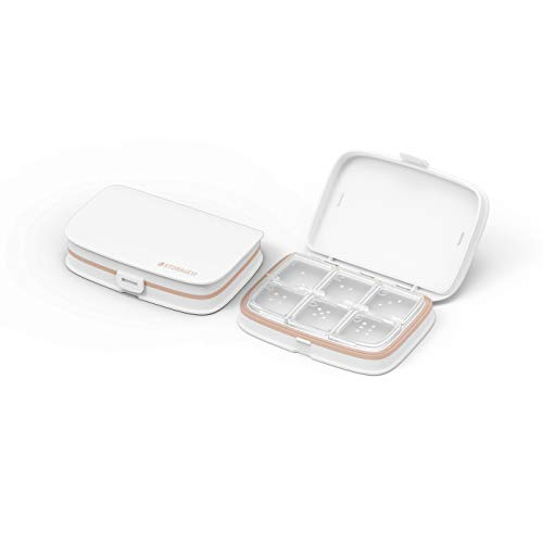 LINFIDITE Daily Pill Box Organizer Portable Travel Pill Case Medicine Storage w Adjustable Removable Compartments Moistureproof Dustproff Waterproof Pill Tablet Capuse Container 6 Compartment,White