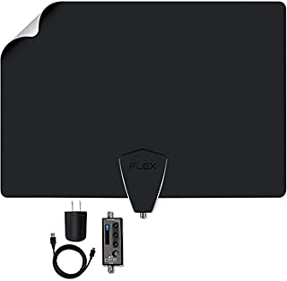 Antennas Direct Clearstream Amplified TV Antenna, 50+ Mile Range, UHF/Vhf, Multi-Directional, Grips to Walls, USB In-Line Amplifier, 15 ft. RG-6 Cable, 4K Ready, Black/White/Paintable - FLEX