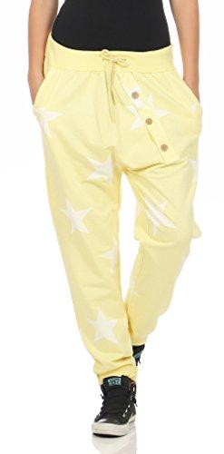 Malito Damen Jogginghose mit Knopfleiste | Sporthose mit Sternen | Baggy zum Tanzen | Sweatpants - Trainingshose 3303 (gelb)