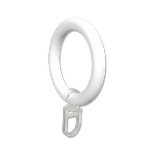 INTERDECO Gardinenstangen Ringe mit Faltenhaken/Gardinenringe in Weiß/Kunststoff für 28 mm Ø (10 Stück)