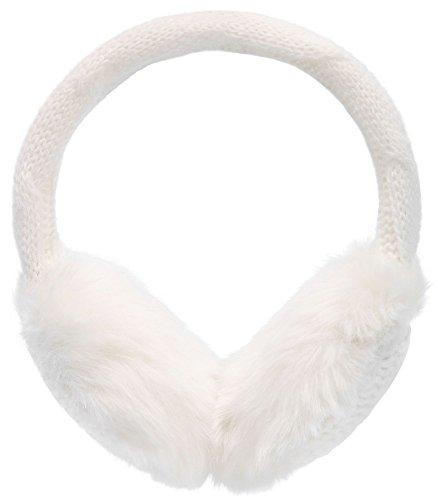 Simplicity Women's Winter Knitted Faux Fur Plush Earmuffs, White