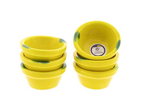 CERÁMICA RAMBLEÑA   Pack x6 Lebrillo de Barro Decorado Amarillo rústico   Cuencos de Aperitivo   Cuencos Cocina para Salsas   Cuencos cerámica   100% Decorados a Mano   8x8x4 cm