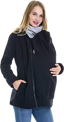 Smallshow Women's Fleece Zip Up Maternity Baby Carrier Hoodie Sweatshirt Jacket X-Large Black