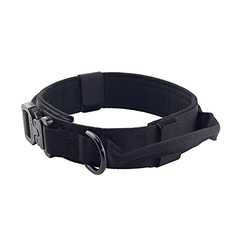 Yunlep Adjustable Tactical Dog Collar Heavy Duty Metal Buckle with Control Handle for Dog...