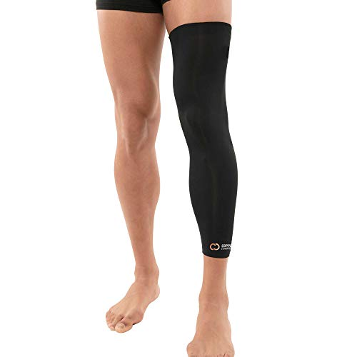 Copper Compression Full Leg Sleeve - Guaranteed Highest Copper Sleeves + Pants. Single Leg Pant Tights Fit for Men and Women. Copper Knee Brace Thigh Calf Support Socks. Basketball, Arthritis (Large)