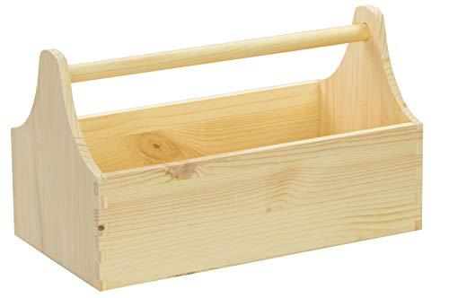 LAUBLUST Große Werkzeugkiste mit Griff - 34 x 18 x 20 cm, Natur, FSC® | Aufbewahrungs-Kiste aus Holz | Geschenkverpackung | Blumen-Kasten | Dekobox | Bastel-Kasten | Spielzeugtrage | Flaschen-Korb
