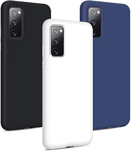 3 × Samsung Galaxy S20 FE / S20 Lite Hülle, Silikon Handyhülle Schutzhülle Weich TPU Bumper Handytasche Ultra Dünn Slim Flexibel Stoßfest Handy Hülle Back Cover, Schwarz + Weiß + Blau