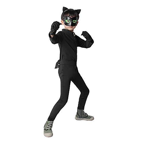 Disfraz de Cat Noir Niños, Máscara Diadema Manga Larga Monos Actuación Cumpleaños Halloween Carnaval Navidad Regalo Cosplay (Negro, Small)