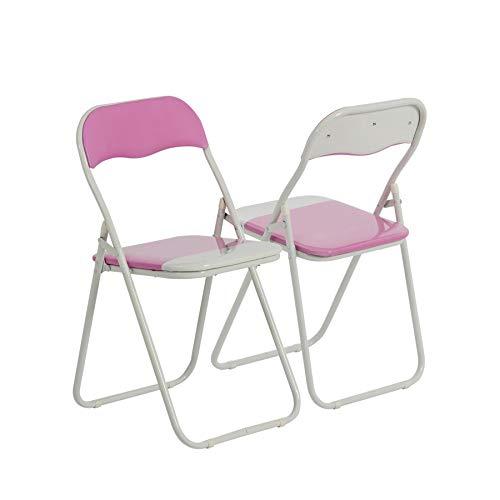 Chaise pliante rembourrée - pour le bureau - rose/blanc - lot de 2