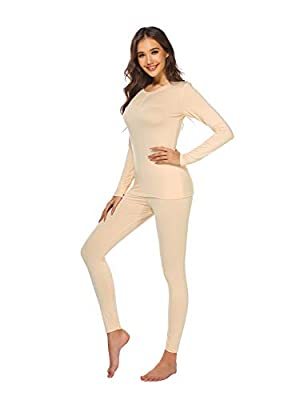 Ekouaer Womens Thermal Underwear Set Henley Base Layer Stretch Top & Bottom,Nude,X-Large