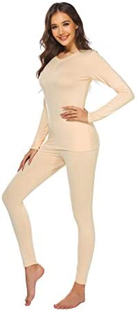 Ekouaer Womens Thermal Underwear Set Henley Base Layer Stretch Top Bottom Nude X Large product image