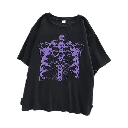 Camiseta feminina Punk Top verão manga curta urbana camiseta caveira escura, 01, M
