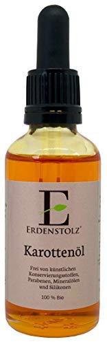 Bio Karottenöl mit Pipette 50ml - 100{f717d667cd04aa36a881135fdeaaf6cf5bcdb1ecfc9a62f28d45ad9db0ad9575} reines kaltgespresstes bio Öl