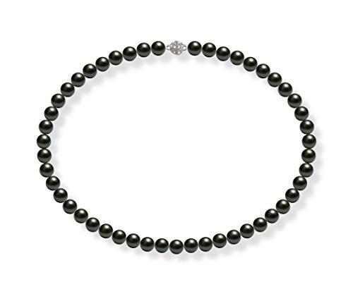 Schmuckwilli Damen Muschelkernperlen Perlenkette Grün Schwarz Magnetverschluß echte Muschel 45cm dmk0003-45 (8mm)