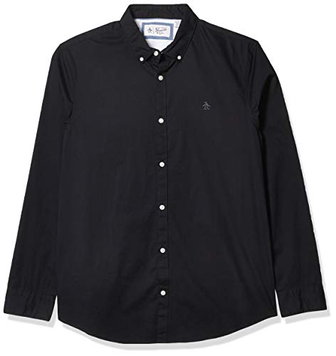 Original Penguin Men's Long Sleeve Core Poplin Button Down Shirt with Stretch, True Black, X Large