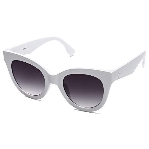 SOJOS Retro Vintage Katzenaugen Oversized Damen Sonnenbrille Designer Brille HOLIDAY SJ2074 mit Weißer Rahmen/Graue Verlaufslinse