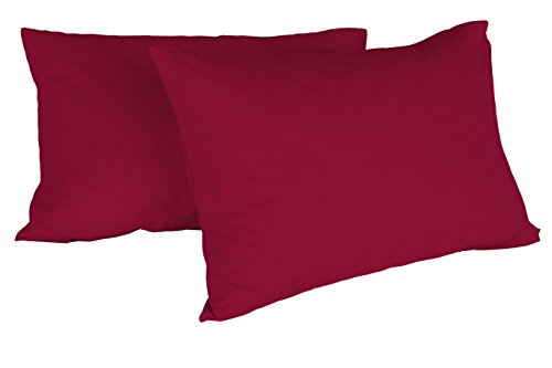 Italian Bed Linen Max Color Coppia di Federe Tinta Unita, 100% Cotone, Bordeaux, 52 x 82 cm