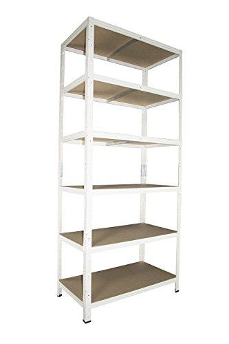 Schwerlastregal in weiß 200 x 60 x 30 cm mit 6 Böden Stecksystem aus Metall verzinkt: Metallregal geeignet als Kellerregal, Lagerregal, Archivregal, Ordnerregal, Werkstattregal