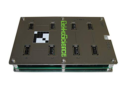 GekkoScience USB Hub 8 Port USB Hub 100 Watts, 5V, 3A Power per Port, Industrial High Power Hub Built for USB Bitcoin / Crypto Miners