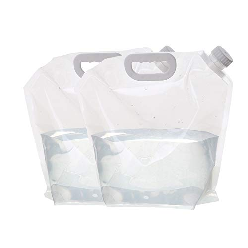 adad Campinggeschirr-Wasserkanister Zwei Packungen Tragbare Faltwasserspeicherbeutel Für Den Außenbereich Die Für Bergsteigen Und Camping Geeignet Sind (Color : Clear, Size : 10L)