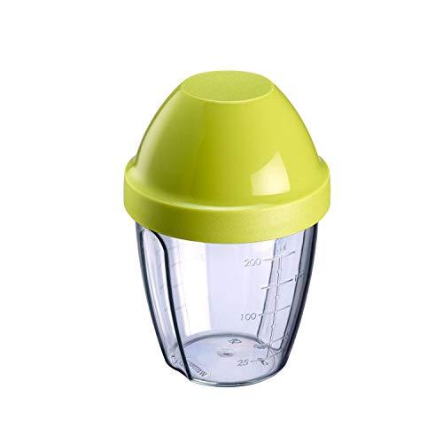 Westmark Mix- und Schüttelbecher/Shaker mit herausnehmbarer Mixscheibe, Fassungsvermögen: 0,25 l, Höhe: 12,8 cm, Kunststoff, BPA-frei, Mix-Ei, Farbe: Klar/Grün, 3089227A
