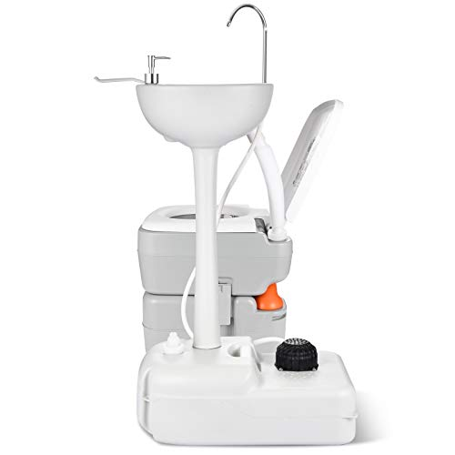 YITAHOME Portable Sink and Toilet, 17 L Hand Washing Station & 5.3 Gallon Flush Potty,for Outdoor,Camping, RV, Boat, Camper, Travel