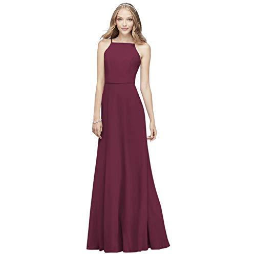 David's Bridal Chiffon High-Neck Bridesmaid Dress Style F19936, Wine, 8