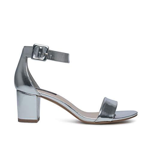 Sacha Schuhe - Damen Sandaletten - Blockabsatz von 5 cm - Silber