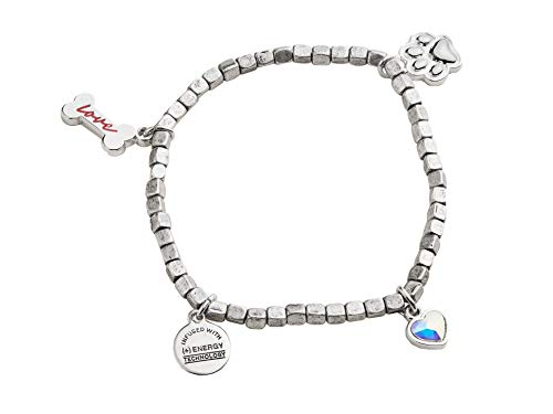 Alex and Ani Prints of Love Multi Charm Stretch Bracelet One Size, Rafaelian Silver