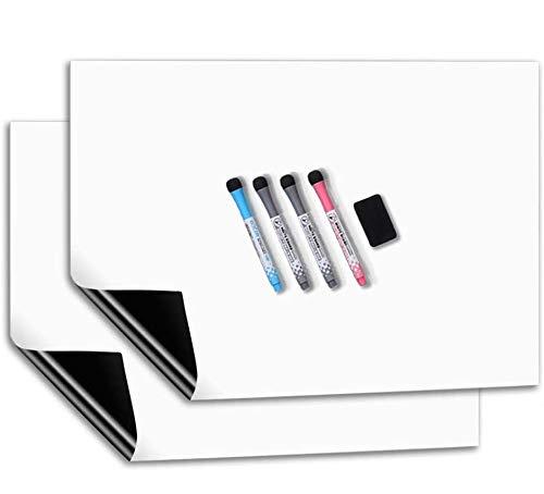 CUHIOY Whiteboard Magnetisches Kühlschrank Magnettafel 2 Pcs 50x30CM für Familie Küche Einkaufsliste,Menü Memo Erinnerung Notiz Planer,Kinder Abwischbar Flexible Magnet White Board,4 Markers 1Radierer