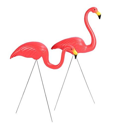 AYNEFY 2 Stück Deko Flamingo Gartenfiguren Garten Dekoration Lebensechte Flamingo Modell Dekoration für Gartenparty Rasen Terrasse