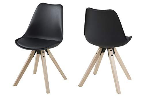 Amazon Brand - Movian Arendsee - Juego de 2 sillas de comedor, 55 x 48,5 x 85cm, negro