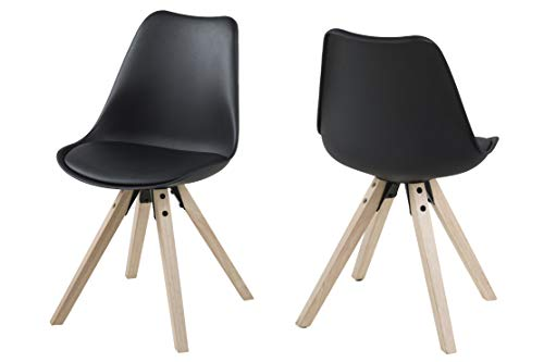 Amazon Brand - Movian Arendsee - Juego de 2 sillas de comedor, 55 x 48,5 x 85 cm, negro