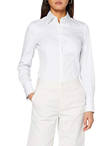 HUGO Damen Bluse The Fitted Shirt, White100, 46