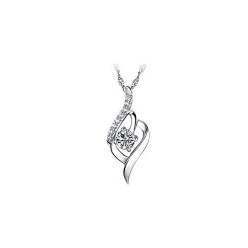 ZYCX123 Las Mujeres Collar de Plata Las Mujeres Collar de Diamantes Plata de Ley 925 Colgante de Cristal c Declaración de Las Mujeres de Moda Joyas y Accesorios de Regalos para la Familia