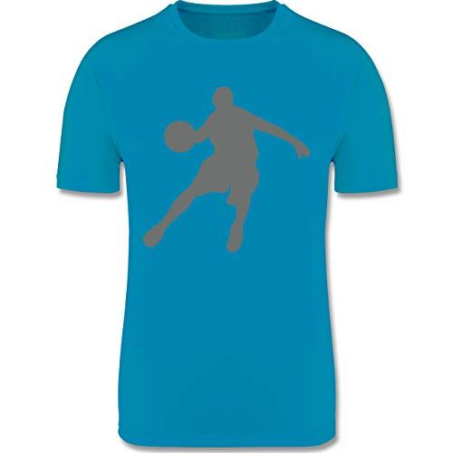 Sport Kind - Basketballspieler - 152 (12/13 Jahre) - Himmelblau - Basketball + 152 - F350K - atmungsaktives Laufshirt/Funktionsshirt für Mädchen und Jungen