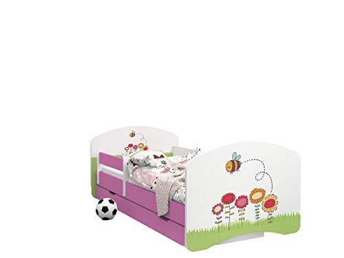Happy Babies -LIT D'ENFANT ROSE DOUBLE FACE AVEC TIROIR Design Moderne Avec Bords Sécurisés et Matelas en Mousse Antichute 7 cm (06. Abeille, 180x90)