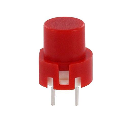 WITTKOWARE 5 Stück! Drucktaster mit runder, roter Kappe - Tact Eingabeschalter für Printmontage