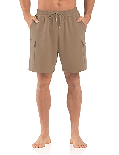 Agnes Urban Mens 6' Cargo Shorts Casual Lounge Elastic Waist Workout Athletic Gym Cotton Terry Sweat Shorts with Pockets Khaki 3XL