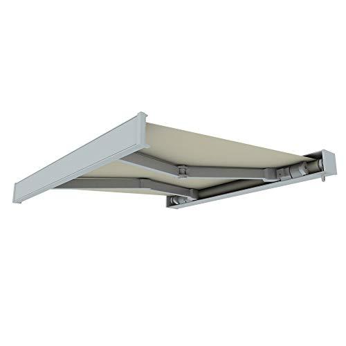 paramondo Markise Kassettenmarkise Line Gelenkarmmarkise Balkon Terrasse Sichtschutz, mit jarolift Funkmotor, 4 x 3 m, Gestell: Weiß, Stoff: Uni, Hellbeige