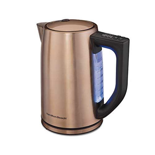 Hamilton Beach Temperature Control Electric Tea Kettle, Water Boiler & Heater, 1.7L Cordless, LED Indicator, Auto-Shutoff, Keep Warm and Boil-Dry Protection, Copper (41026)