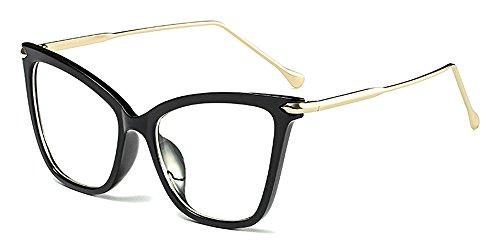 BOZEVON Moda Retro Fiesta Ojo de Gato Gafas Mujer Oversize Transparente Clásico Gafas de Sol, Negro/Transparente