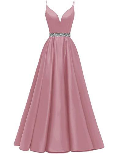 HUINI Vestidos de Noche Largo Vestido de Fiesta Vestido de Novia A-línea Princesa Vestido de Cóctel Cuello en V Talla Grande para Mujer Rosa Sucio 52