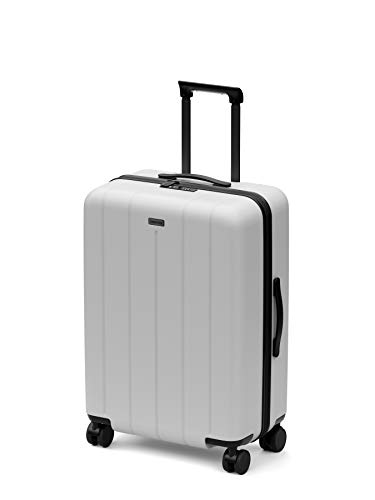 CHESTER Regula Medium Spinner Checked Luggage / 26' Lightweight Polycarbonate Hardshell/Spinner Suitcase/Checked Luggage (Snow (White), Medium Checked Luggage)